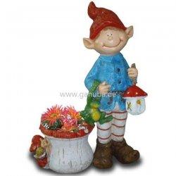 Deko Figur Wichtel Mit Laterne Frosch Und Blumentopf