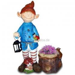 Dekorations Figur Wichtel Mit Baumstamm Blumentopf
