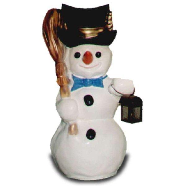 weihnachts dekoration schneemann mit laterne und besen