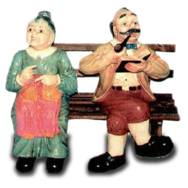 Dekorations Figur Opa Und Oma Auf Bank