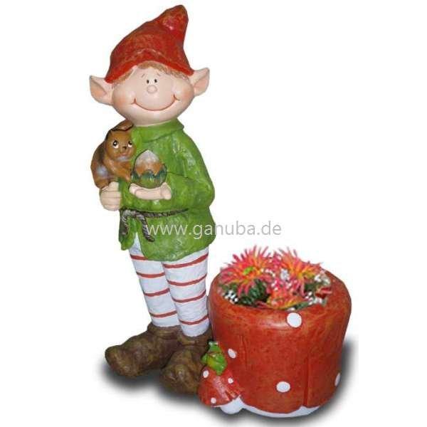 Dekorations Figur Wichtel Mit Eichh Rnchen Und Blumentopf