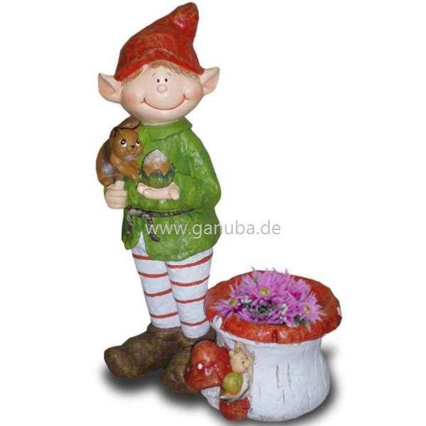 Deko Figur Wichtel Mit Pilz Blumentopf Mit Schnecke