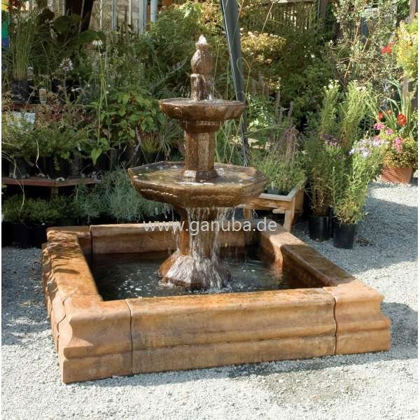 gartenbrunnen carrara mit eckigem brunnen becken. Black Bedroom Furniture Sets. Home Design Ideas