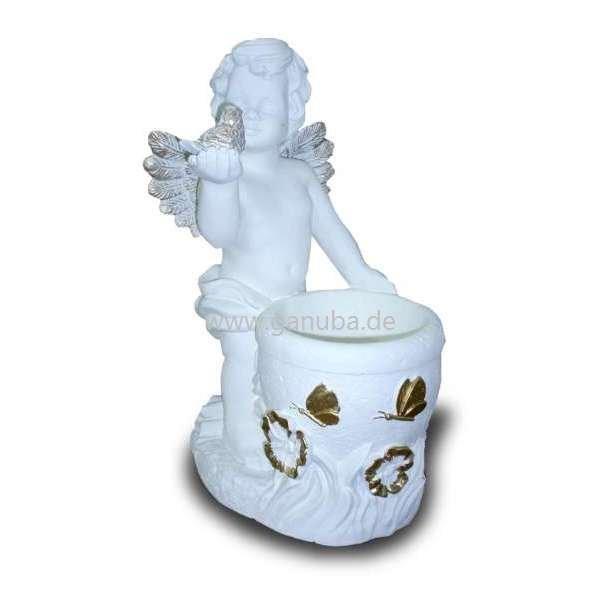 dekorations figur engel mit blumentopf