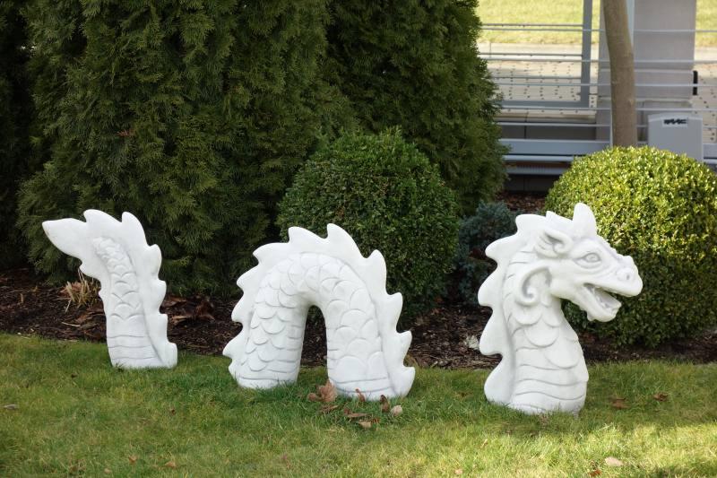 Gartenfigur Chinesischer Drachen Dreiteilig